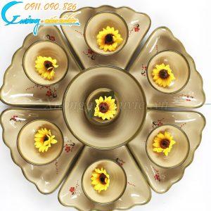 Bộ bát đĩa hoa mặt trời họa tiết hoa đào đỏ