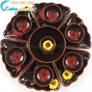 Bộ bát đĩa hoa mặt trời men nâu hoa đỏ
