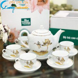 Bộ trà dáng Minh Long họa tiết sen vẽ vàng kim