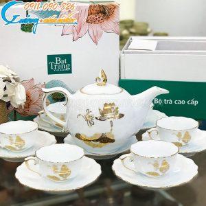 Bộ trà mẫu đơn họa tiết sen vẽ vàng kim