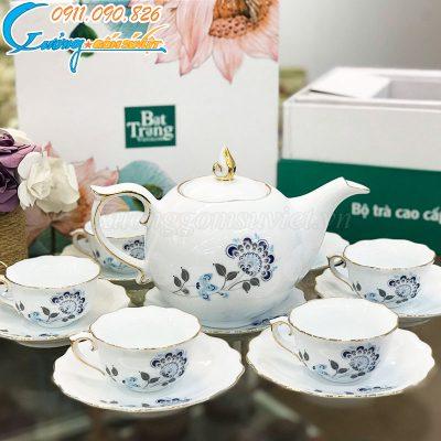 Bộ trà mẫu đơn hoa xanh kẻ viền kim