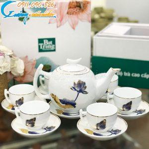 Bộ trà trăng khuyết kẻ vàng kim họa tiết sen xanh