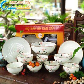 Bộ bát đĩa nhà hàng Bát Tràng hoa đào men kem