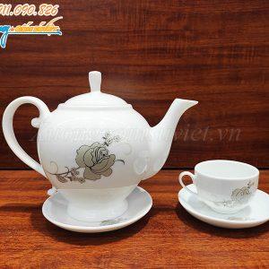 Bộ ấm trà hoạ tiết hoa hồng